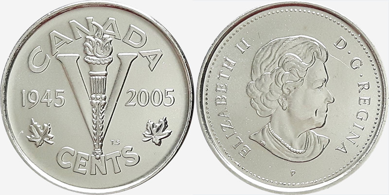 CANADA 2005 CANADIAN Victory 5 Five cents Canadian Nickel COIN.