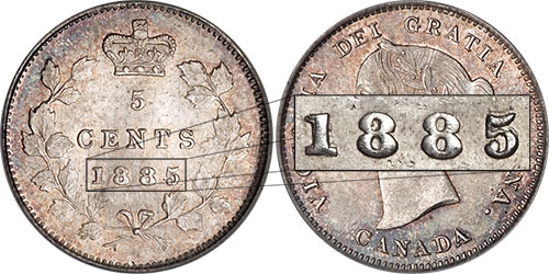 5 cents 1885 - Large 5 over 5 - 5/5