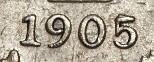 5 cents 1905 - Double 5 - Top