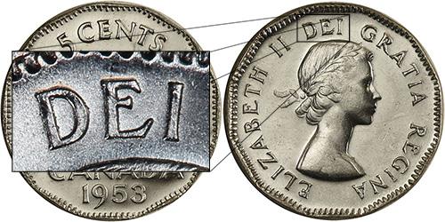 5 cents 1953 - Shoulder Fold - SF