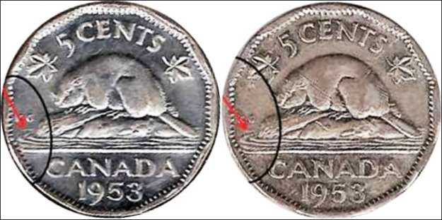 Canada 1953 5 Cent Coin.