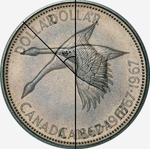 Coin pivoté - 1 dollar 1967