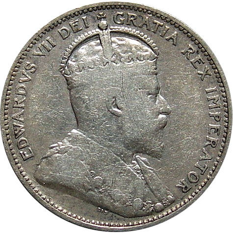 VG-8 - 25 cents 1902 to 1910 - Edward VII