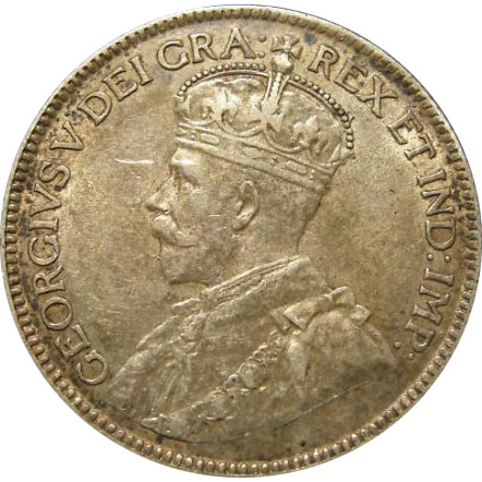EF-40 - 25 cents 1911 to 1936 - George V