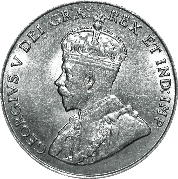 AU-50 - 5 cents 1911 to 1936 - George V