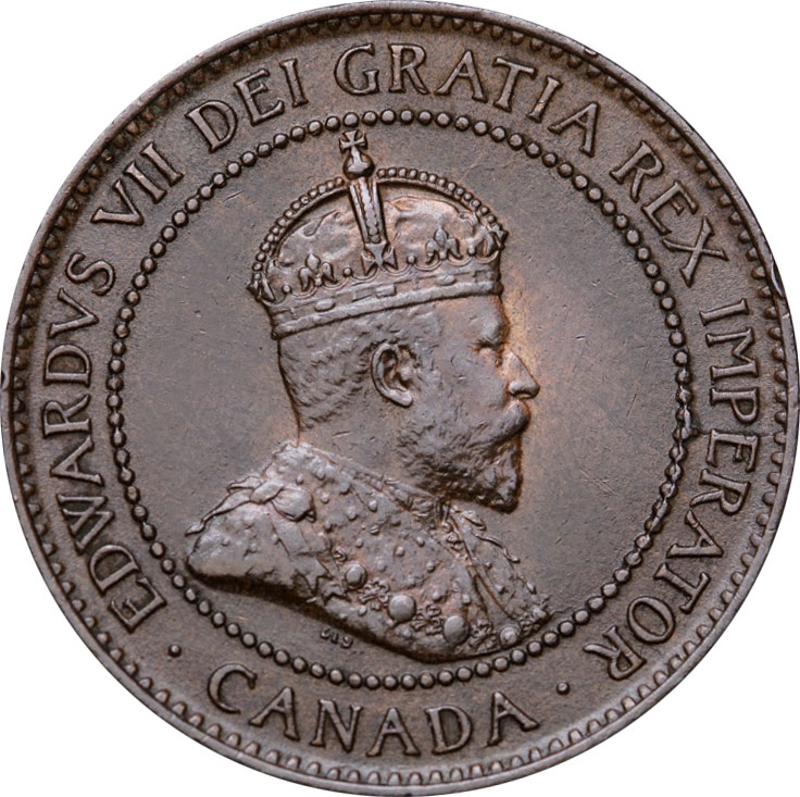AU-50 - 1 cent 1902 to 1910 - Edward VII