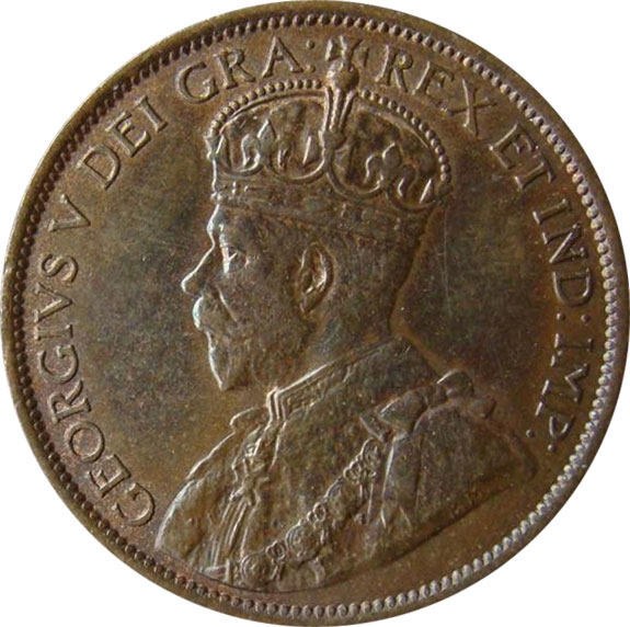 AU-50 - 1 cent 1911 to 1920 - George V