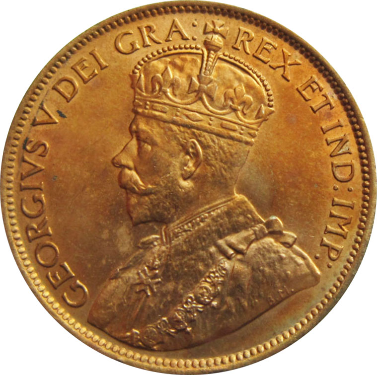 MS-60 - 1 cent 1911 to 1920 - George V