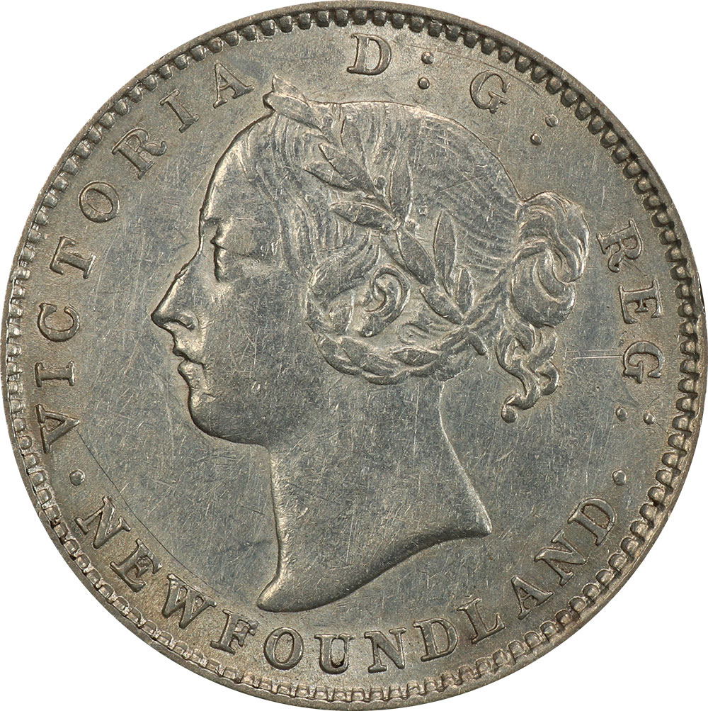 AU-50 - 10 cents 1865 to 1896 - Newfoundland - Victoria