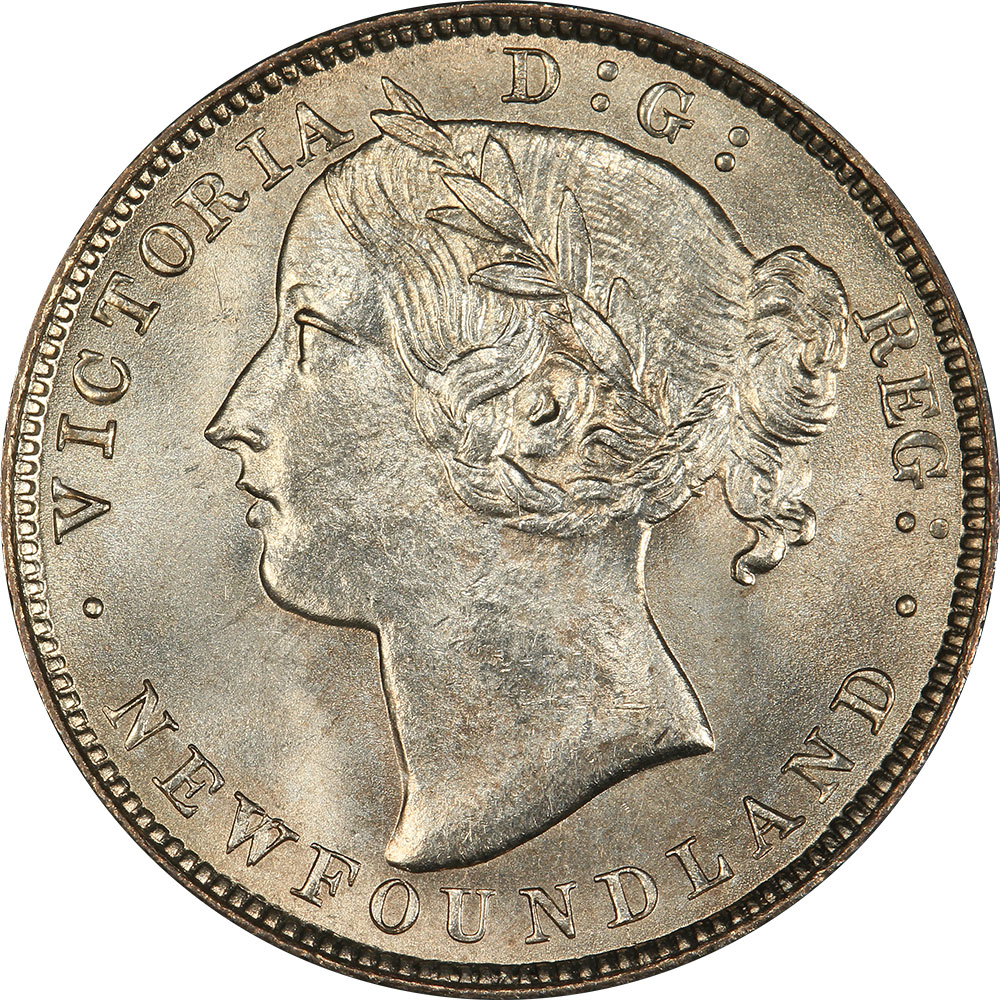 MS-60 - 20 cents 1865 to 1900 - Newfoundland - Victoria