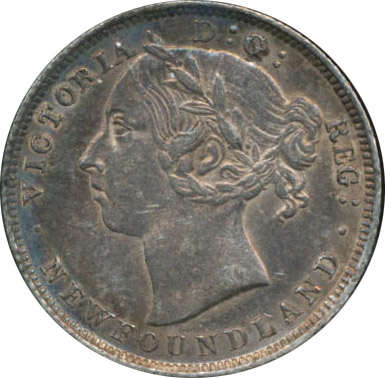 AU-50 - 20 cents 1865 to 1900 - Newfoundland - Victoria