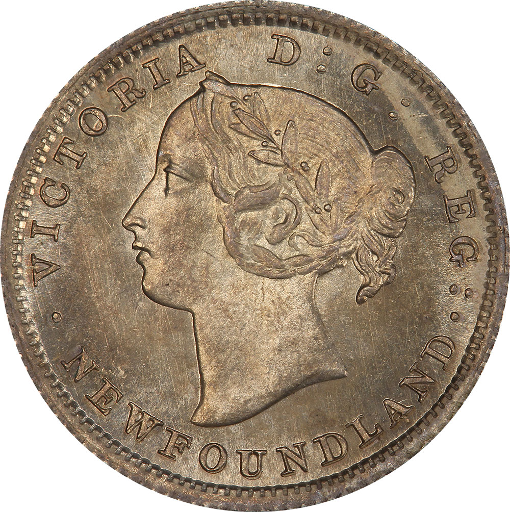 MS-60 - 5 cents 1865 to 1896 - Newfoundland - Victoria