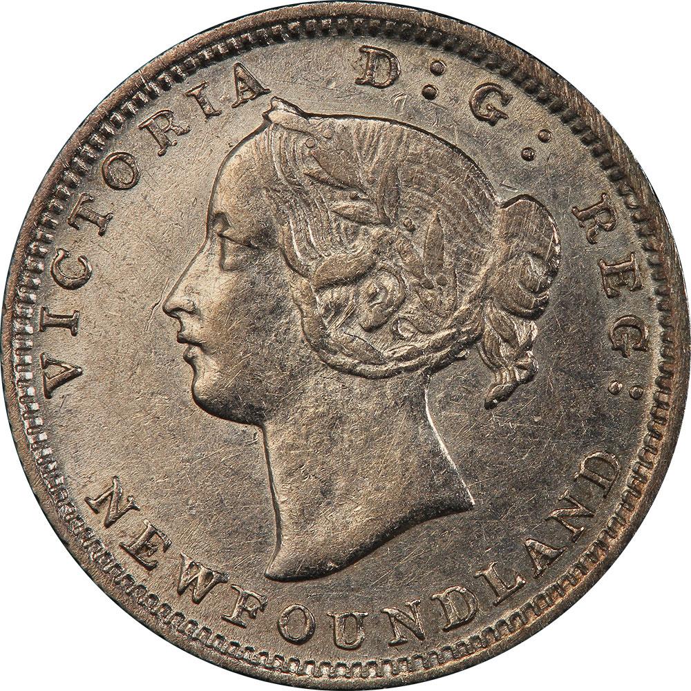 AU-50 - 5 cents 1865 to 1896 - Newfoundland - Victoria