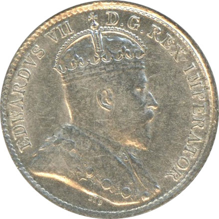 AU-50 - 5 cents 1902 to 1910 - Edward VII
