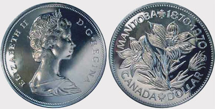 Coins and Canada - 1 dollar 1970 - Canadian coins price guide and values