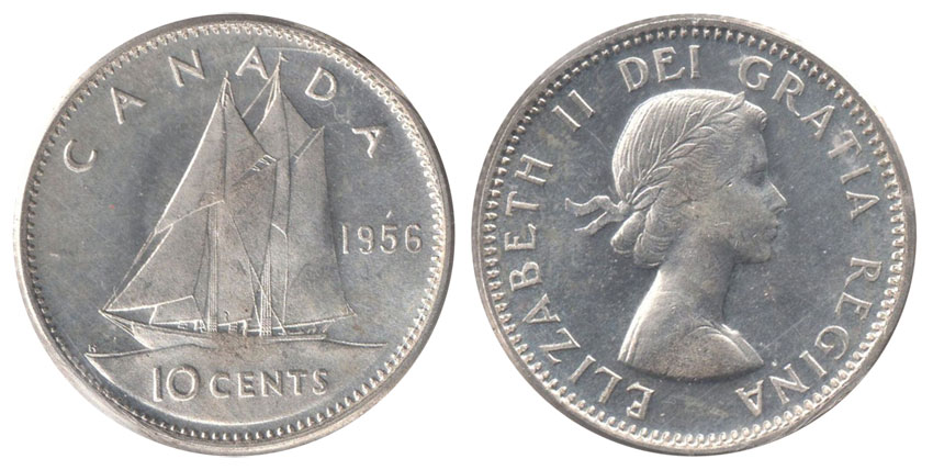 Coins And Canada 10 Cents 1956 Canadian Coins Price Guide And Values
