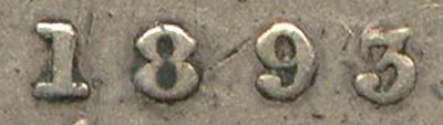 10 cents 1893 - Flat Top 3