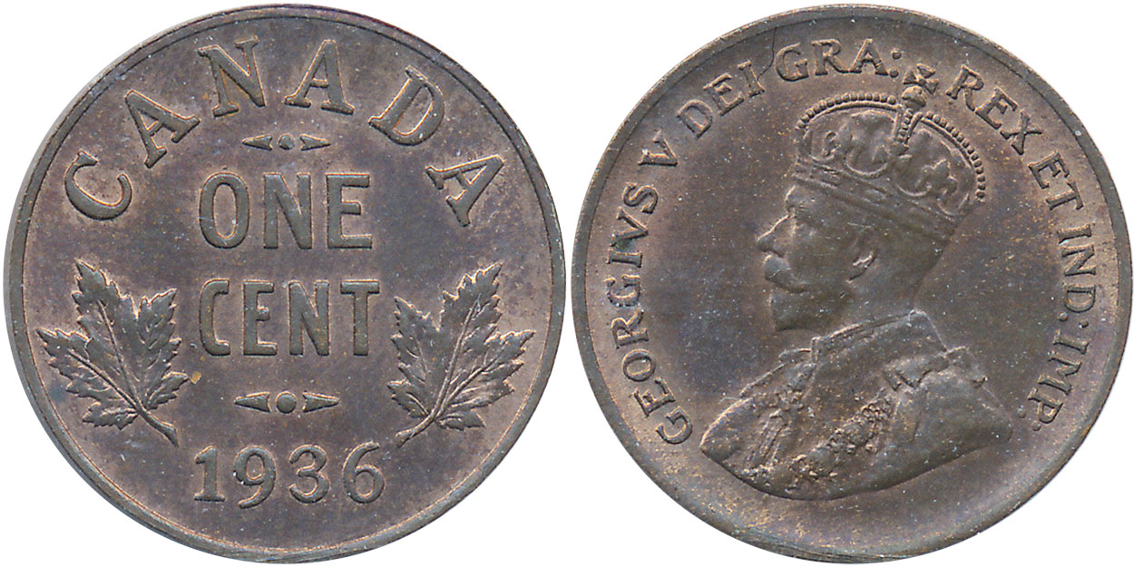 Circulated Penny 1936 Canada one Cent
