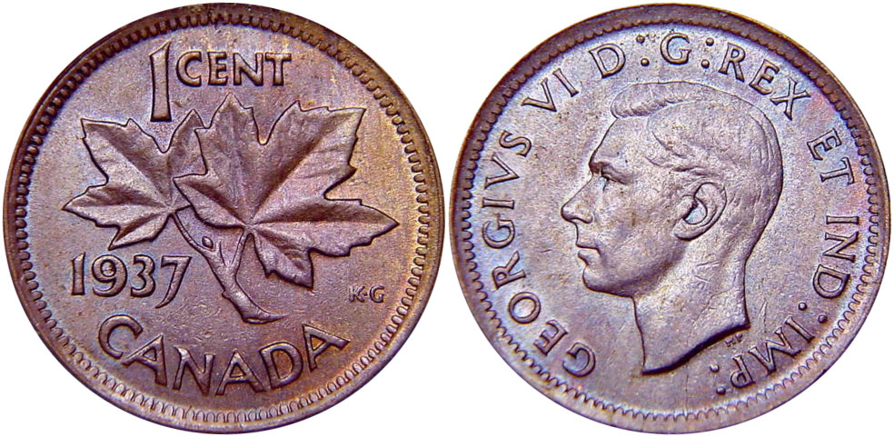 Coins and Canada - 1 cent 1937 - Canadian coins price guide