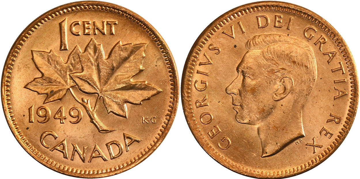 """1949 /""""Off Denticle/"""" Canada Cent Penny Canadian Coin Circulated"""