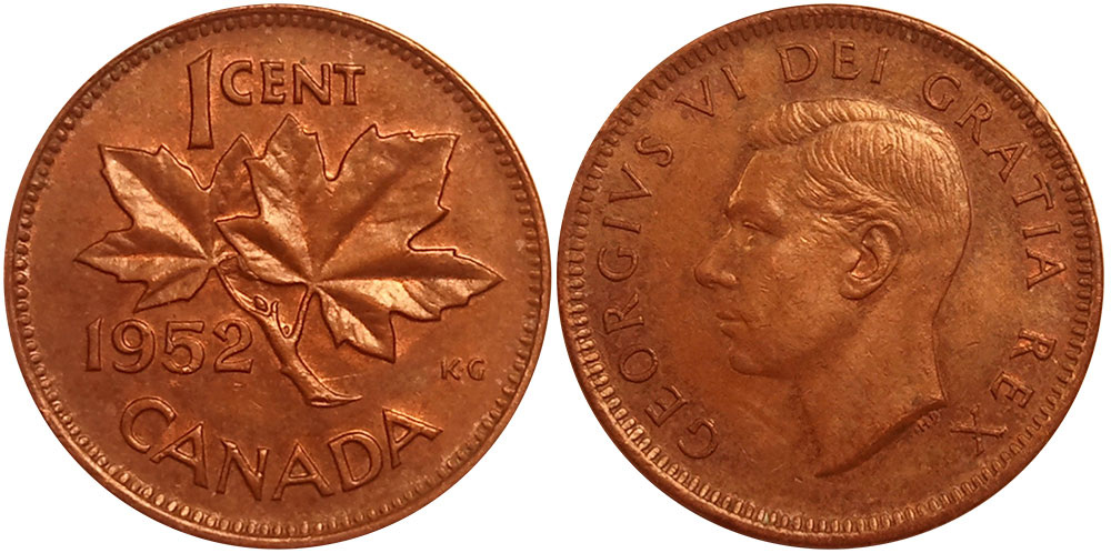 Coins and Canada - 1 cent 1952 - Canadian coins price guide