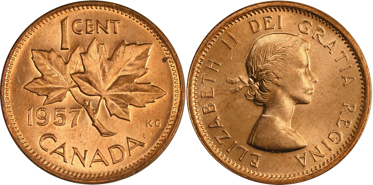 1957 Canada Roll Of Pennies Rare One Roll From The Lot.