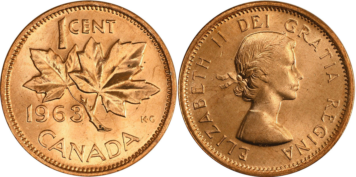 Coins And Canada 1 Cent 1963 Canadian Coins Price Guide And Values