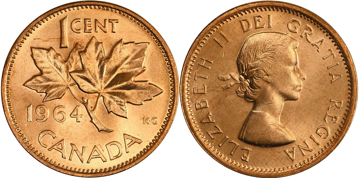 Coins and Canada - 1 cent 1964 - Canadian coins price guide and values