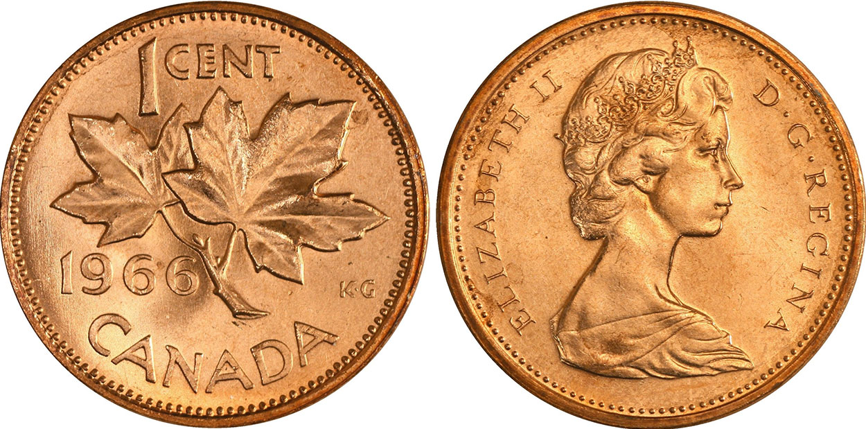 Coins and Canada - 1 cent 1966 - Canadian coins price guide and values
