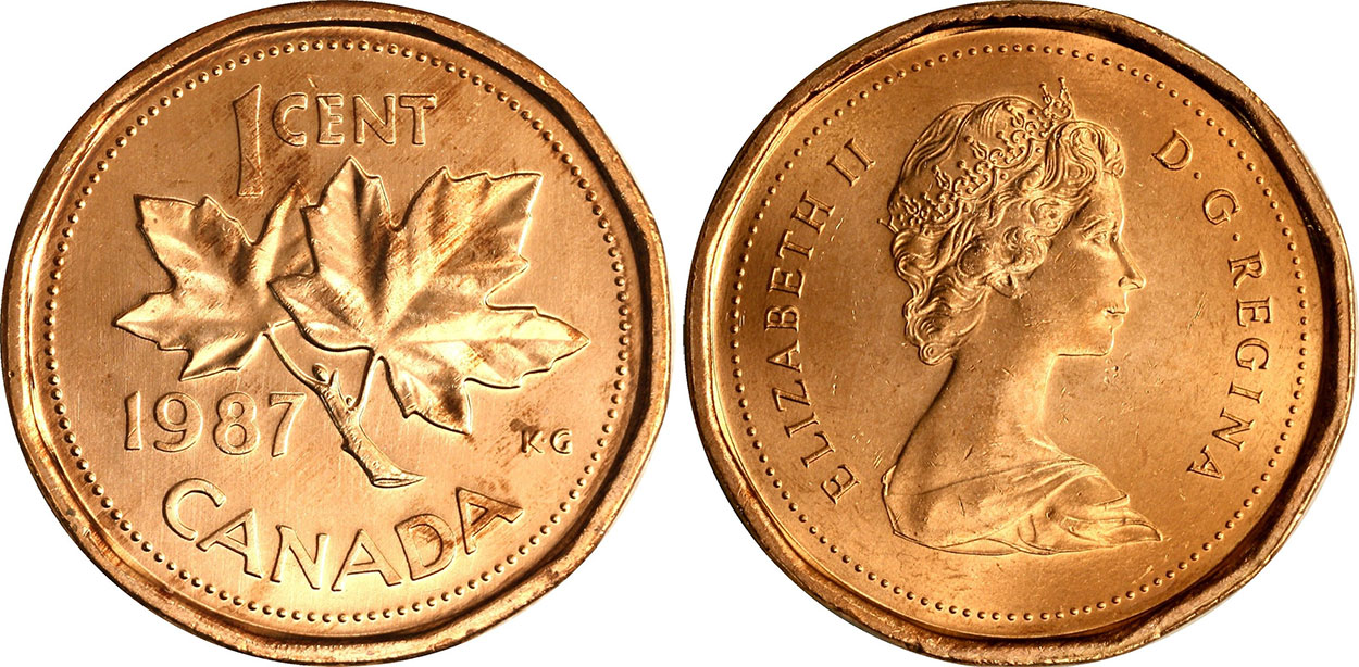 Coins and Canada - 1 cent 1987 - Canadian coins price guide