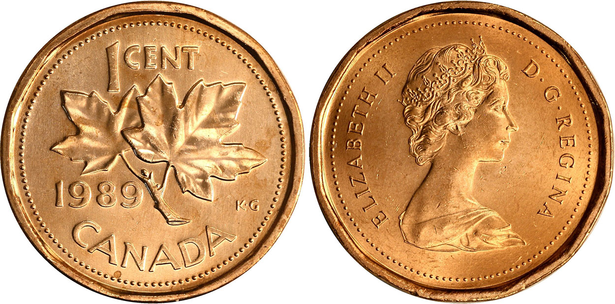 Coins and Canada - 1 cent 1989 - Canadian coins price guide and values