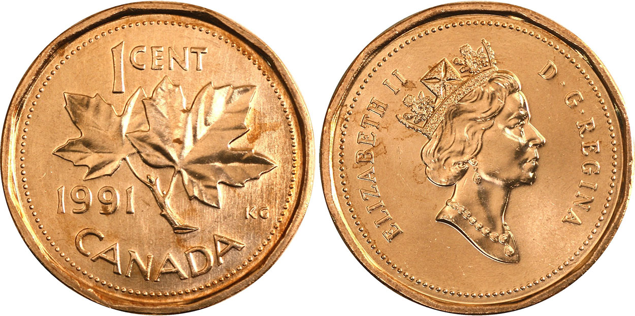 Coins and Canada - 1 cent 1991 - Canadian coins price guide and values