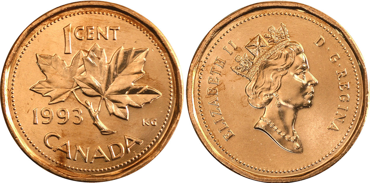1993 CANADA 1 CENT PROOF PENNY HEAVY CAMEO COIN