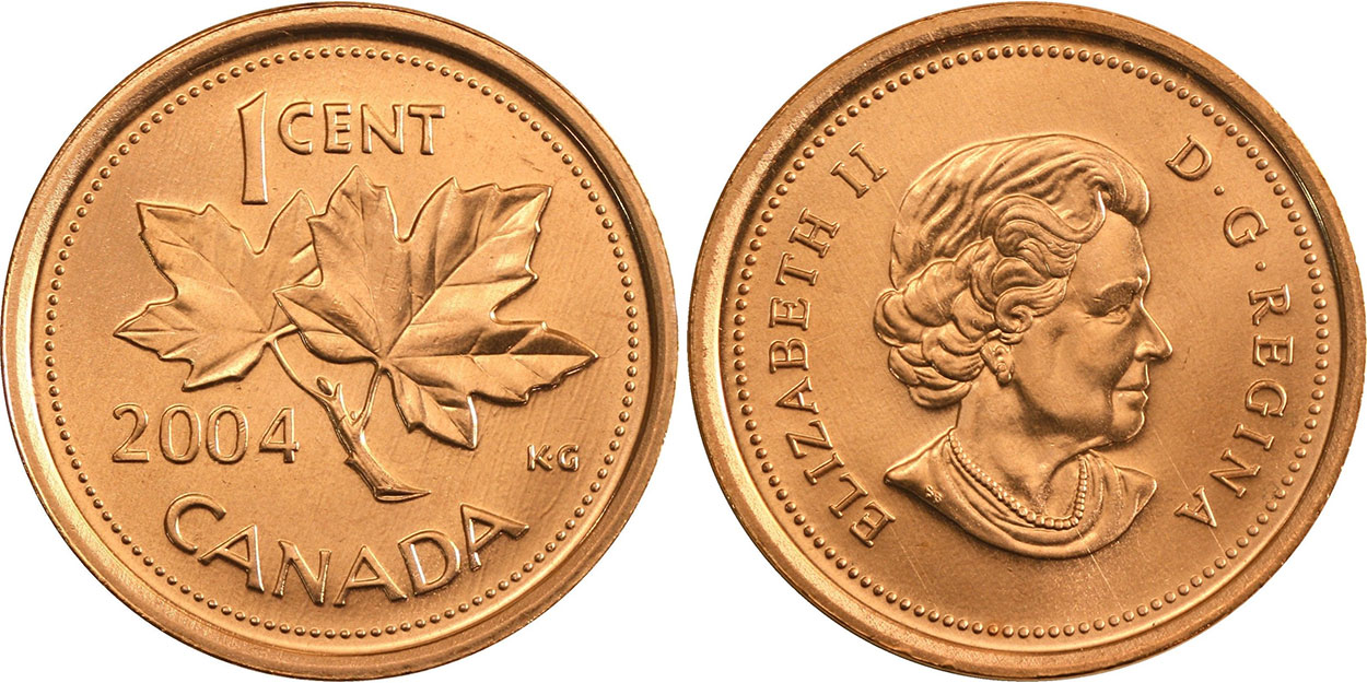 2004P CANADA 1 CENT MAGNETIC SPECIMEN PENNY COIN