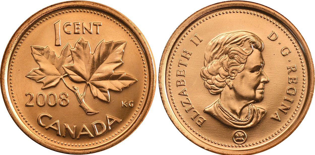 Coins and Canada - 1 cent 2008 - Canadian coins price guide