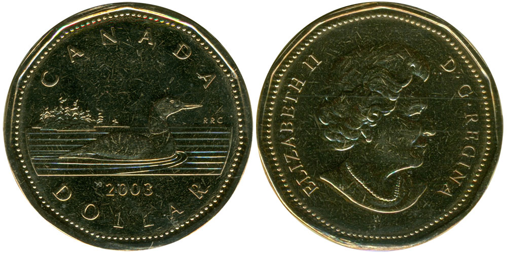 2003 CANADA LOONIE PROOF-LIKE OLD EFFIGY ONE DOLLAR COIN