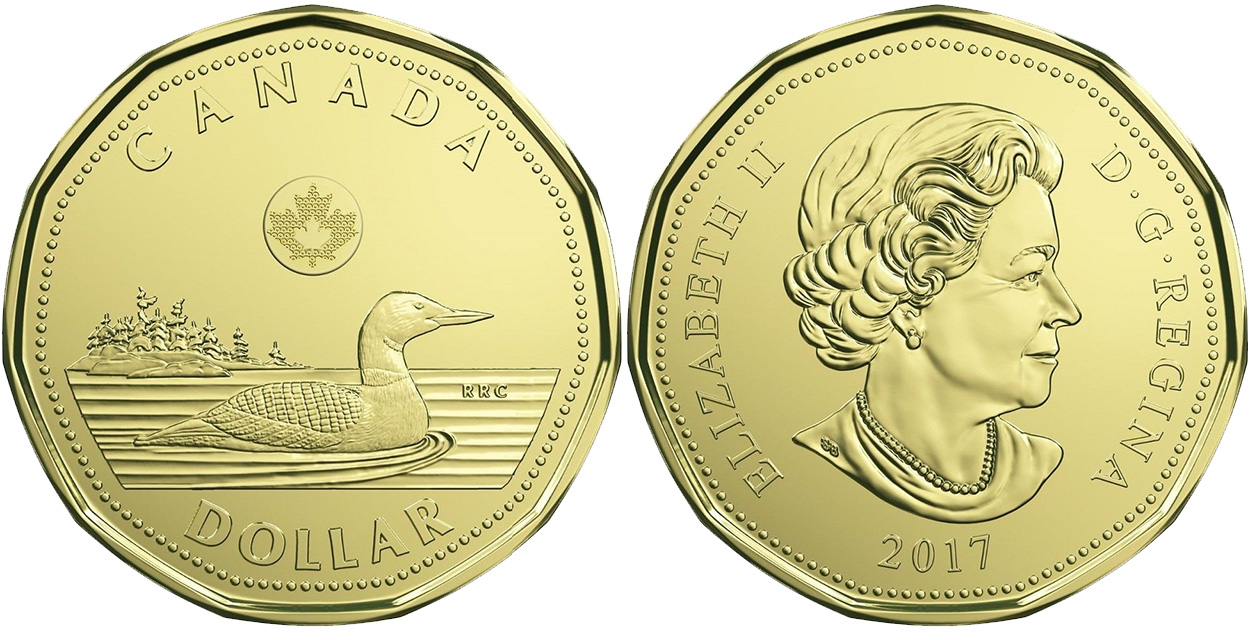 Coins and Canada - 1 dollar 2017 - Canadian coins price ...