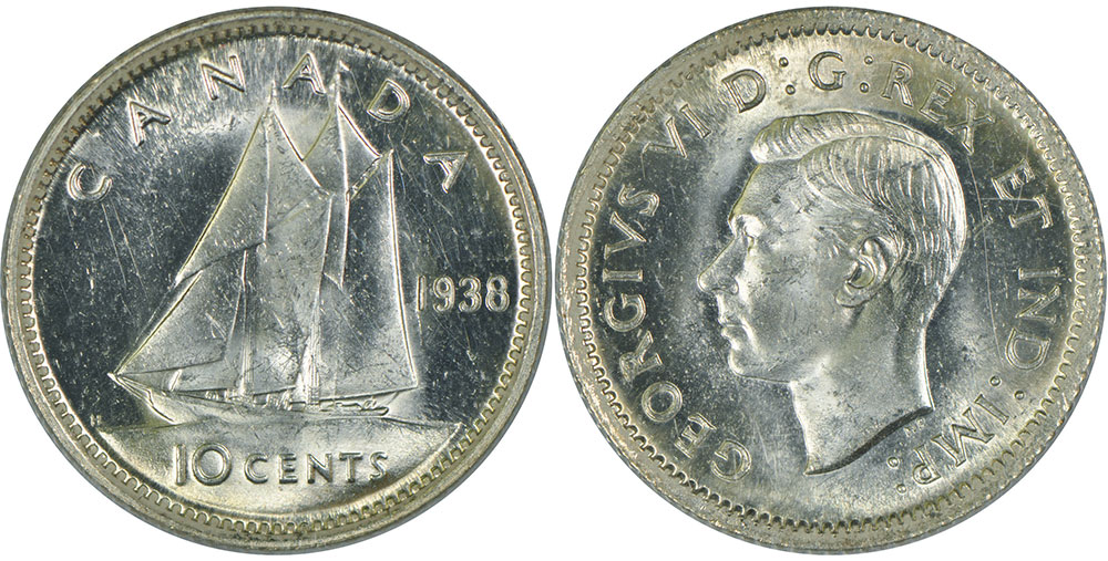Coins and Canada - 10 cents 1939 - Canadian coins price