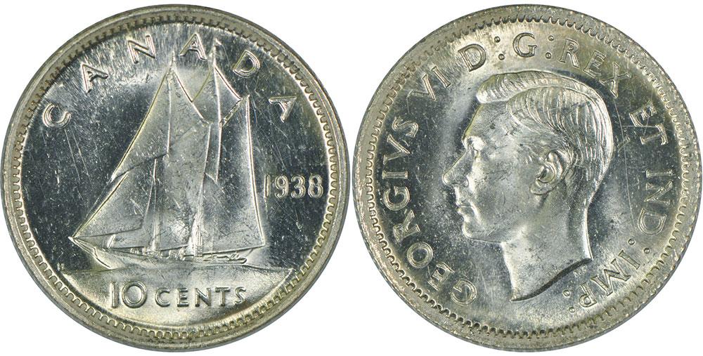 1939 Canada 10 Cent silver coin
