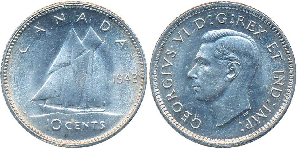Coins And Canada 10 Cents 1943 Canadian Coins Price Guide