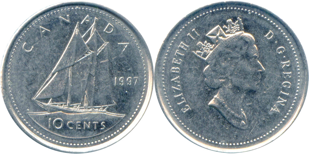 ten cent 1997 Canada Dime UNCIRCULATED from original mint roll