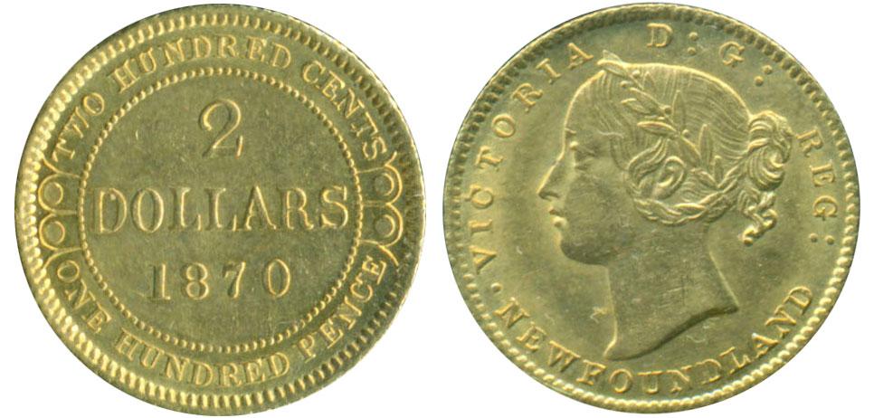 2 dollars 1870 - Newfoundland