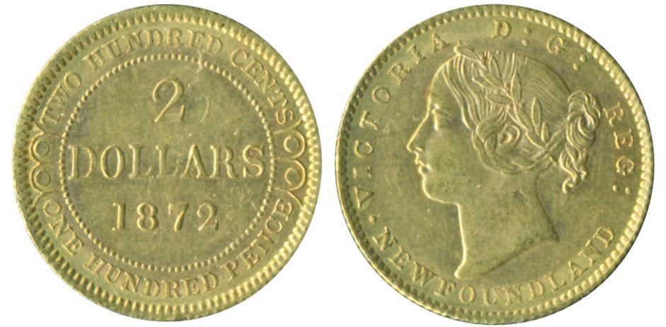 2 dollars 1872 - Newfoundland