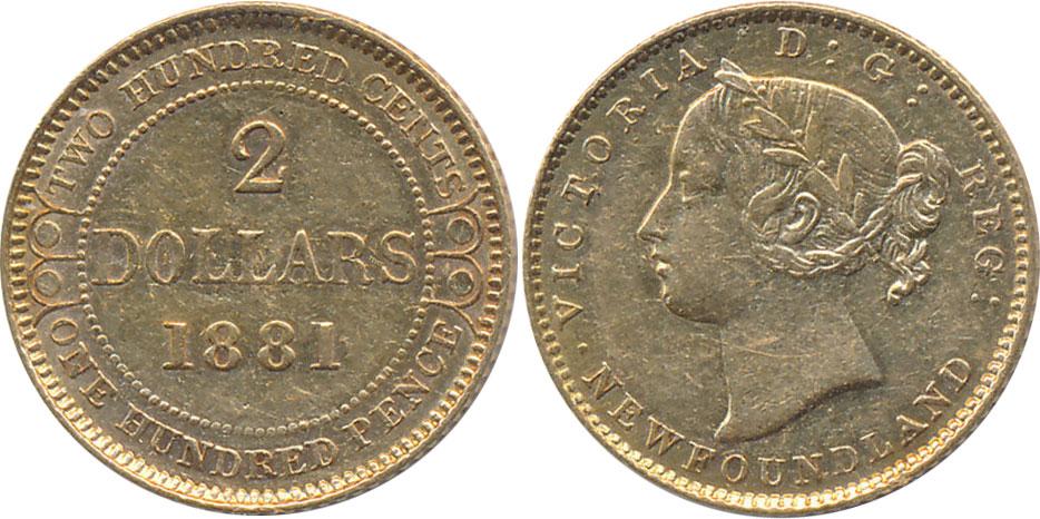 2 dollars 1882 - Newfoundland