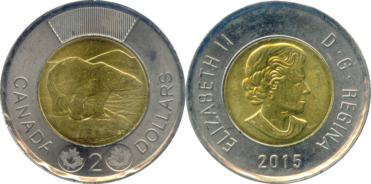 2015 CANADA 2 DOLLAR FLANDERS FIELD TOONIE BRILLIANT UNCIRCULATED COIN