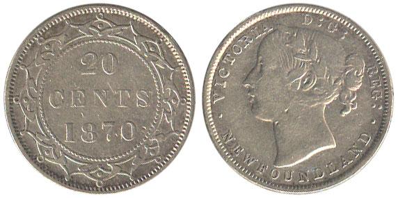 20 cents 1870 - Newfoundland