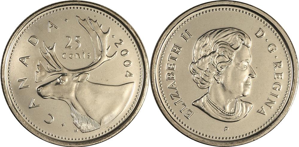 2004 P Canada 25 Cents BU