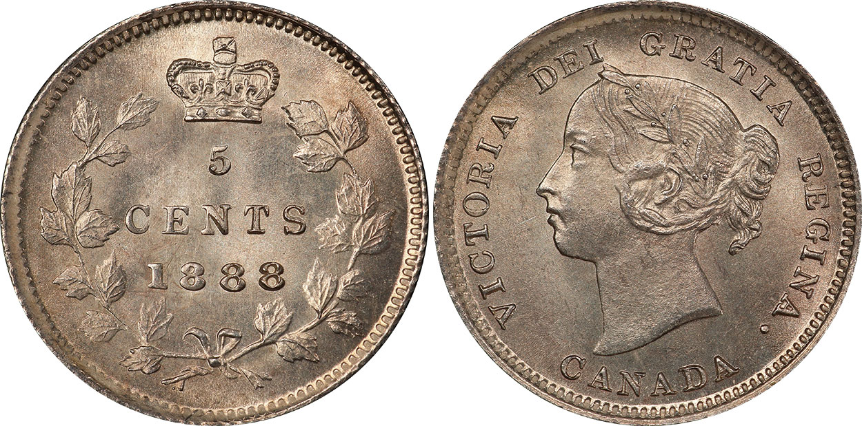 1888 Canadian Twenty Five Cent Coin