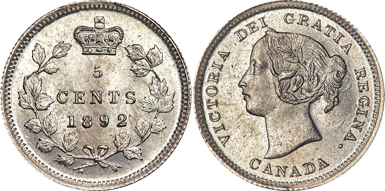 5 cents 1892