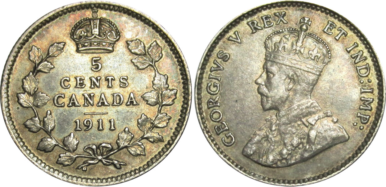 Coins and Canada - 5 cents 1912 - Canadian coins price guide